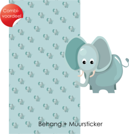 Combi Deal - Jungly Jungle - Olifant - Behang + Muursticker