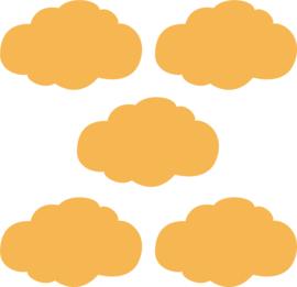 Muurstickers oker gele wolken - 5 stuks - 14x8cm