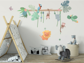 Jungly jungle - papegaaien set muurstickers