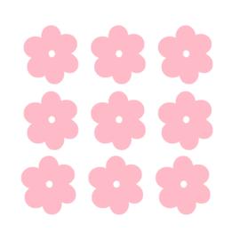 Licht roze bloemen muurstickers - 6x6cm - 10 stuks