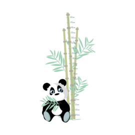 Jungly jungle - Panda met bamboe meetlat muursticker