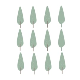 Indianen dieren - Mos groene bomen muurstickers 12st - 5x16cm