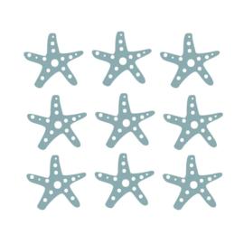 Fishie fishies - Zeesterren muurstickers donker groen - 3x3cm