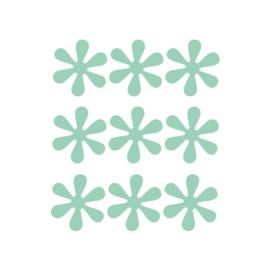 Groene bloemetjes muurstickers - 9 stuks - 6x6cm