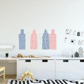 Huisjes muurstickers - blauw/grijs/roze - 50x30cm
