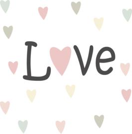 Love muursticker met hartjes set - 40x15cm