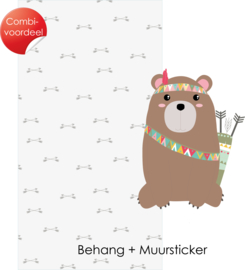 Combi Deal - Indianen dieren - Beer - Behang + Muursticker