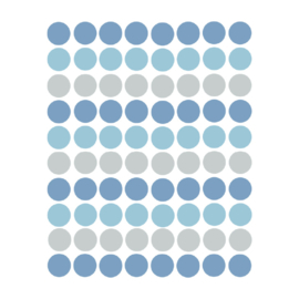 Confetti muursticker stipjes - blauw en grijs - 120 stuks - 2x2cm