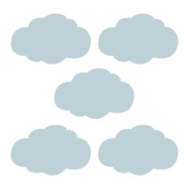 Grijs blauwe wolk muursticker - 5 stuks - 14x8cm
