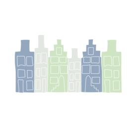 Huisjes muurstickers - blauw/grijs/groen - 50x30cm