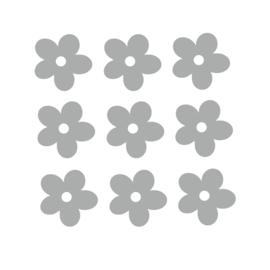 Grijze bloemen muurstickers - 10 stuks - 5x5cm