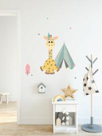 Indianen dieren - Giraf muursticker - 31x64cm