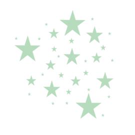Sterren muursticker mix - Licht groen -  33 stuks