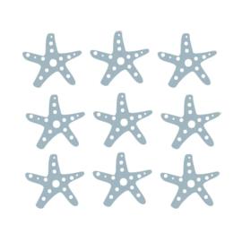 Fishie fishies - Zeesterren muurstickers grijs blauw - 3x3cm