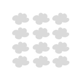 My little rainbow - Wolken muurstickers licht grijs 12st - 7x9cm