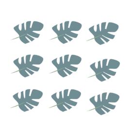 Jungly jungle - Bladeren muurstickers grijs blauw - 10x7cm