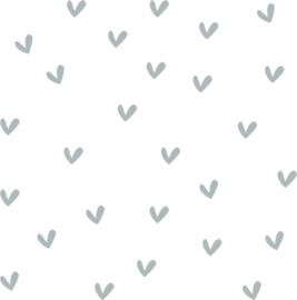 Hartjes muurstickers grijs - 100 stuks - 2x2cm