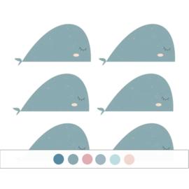 Fishie fishies - Walvissen muurstickers 6st - 30x16cm (Diverse varianten)