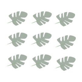 Jungly jungle - Bladeren muurstickers leger groen - 10x7cm