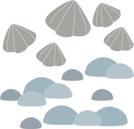 Fishie fishies - Stenen en schelpen muurstickers