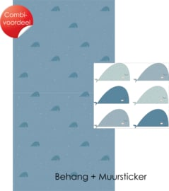Combi Deal - Fishie Fishies - Blauw - Behang + Muursticker