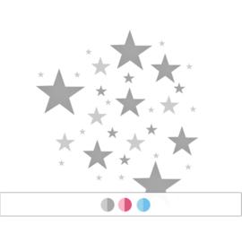Sterrenmix muurstickers - 2 kleuren - 33 sterren (Diverse varianten)