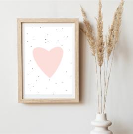 Licht roze hartje - Poster - A4/A3