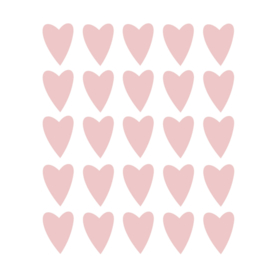 Roze hartjes muurstickers - 25 stuks - 5x4cm