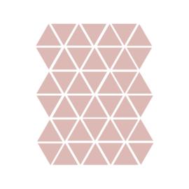 Driehoek muurstickers oud roze - 45 stuks - 4,5x4,5cm
