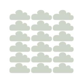 Wolkjes muurstickers - Tranquil Dawn (trendkleur 2020) - 10x5m - 18stuks