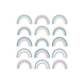 My little rainbow - Regenboog muurstickers gekleurd 15st - 6x10cm