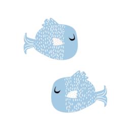 Fishie fishies - Visjes muurstickers blauw - 9x7.5cm