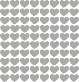 Hartjes muurstickers grijs - 80 stuks - 2x2cm