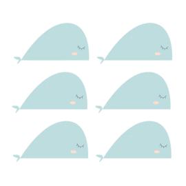 Fishie fishies - Walvissen muurstickers licht blauw 6st - 30x16cm