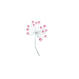 Diamond Forest Friends - takjes bloemen roze muursticker - 5 stuks