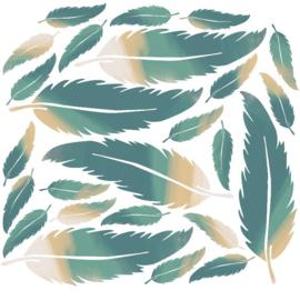 Veertjes muurstickers mint groen en  beige - 20 stuks - 18x5cm