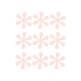 Zalm roze bloemetjes muurstickers - 9 stuks - 6x6cm
