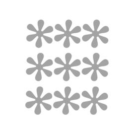 Grijze bloemetjes muurstickers - 9 stuks - 6x6cm