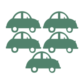 Donker groene auto muurstickers - 5 stuks - 16,5x10x5cm