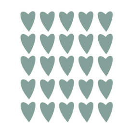 Donker groene hartjes muurstickers - 25 stuks - 5x4cm