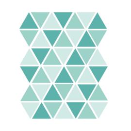 Driehoek muurstickers mint tinten - 45 stuks - 4,5x4,5cm