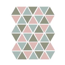 Driehoek muurstickers groen, mint en roze - 45 stuks - 4,5x4,5cm