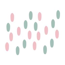 My little rainbow - Vlekken muurstickers mint groen en roze 20st - 1x3cm