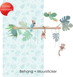 Combi Deal - Jungly Jungle - Licht blauw - Behang + Muursticker