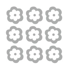 Grijze bloemen muurstickers - 10 stuks - 8x8cm