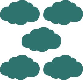 Muurstickers donker groene wolken - 5 stuks - 14x8cm