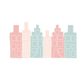 Huisjes muurstickers - roze/blauw - 50x30cm