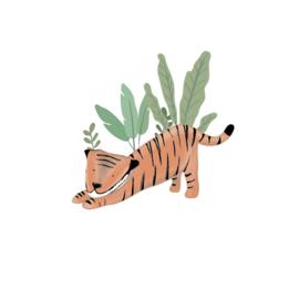 Tijger Tiggie - Spelende tijger muursticker - 40x38cm