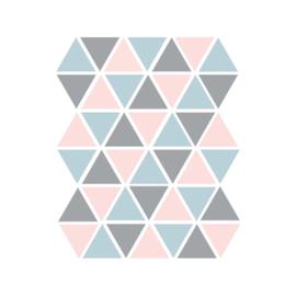 Driehoek muurstickers blauw/grijs/roze - 45 stuks - 4,5x4,5cm