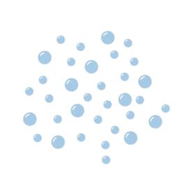 Fishie fishies - Bubbel muurstickers blauw 30st - 2x2cm